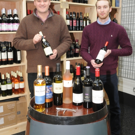 New wine & spirits stallholder at Knutsford Market Hall morgan edwards  L to R Morgan ward and edward speakman
